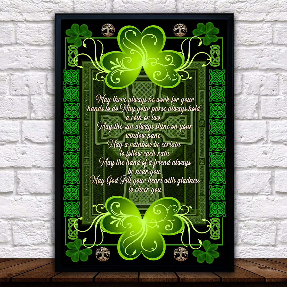 Personalized Lovely Wall Art Poster St Patrick's Day Irish May God Fill Your Heart With Gladness Pattern 2 Prints Decoracion Wall Art Picture Living Room Wall