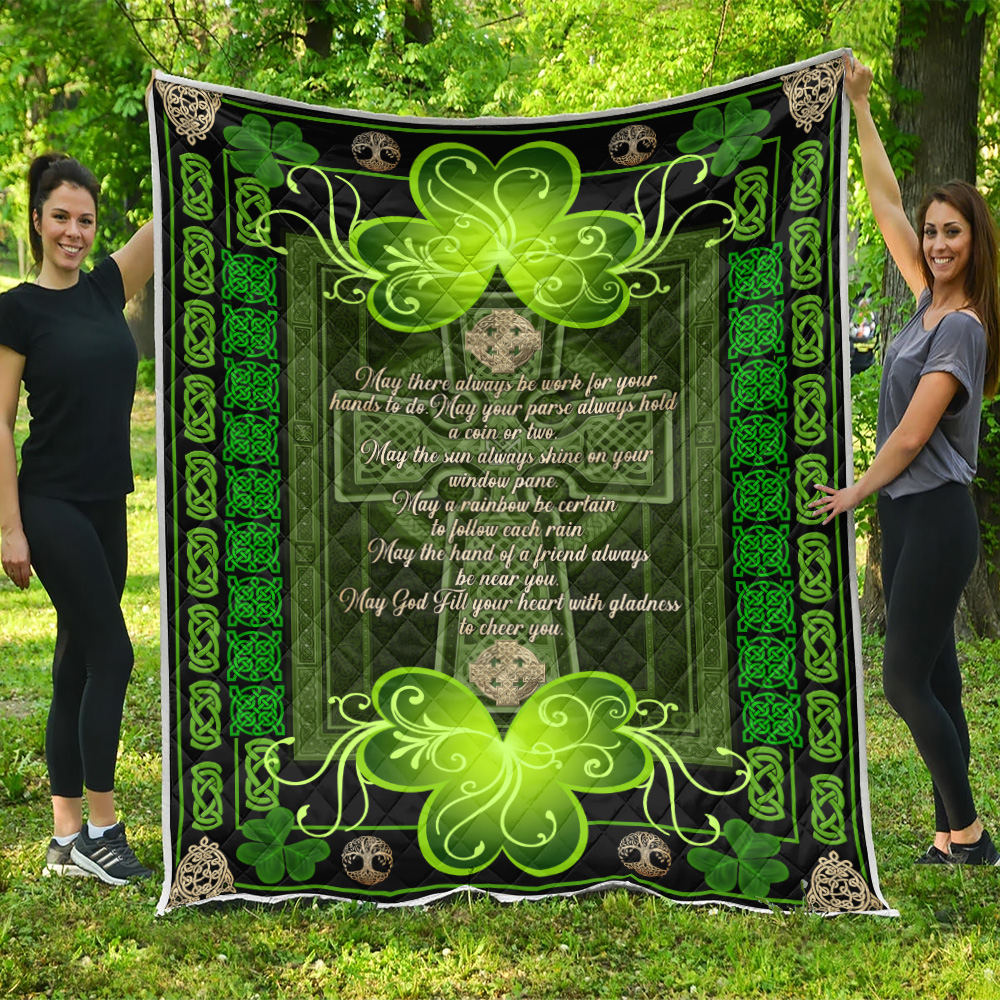 Personalized Lovely Quilt Throw Blanket St Patrick's Day Irish May God Fill Your Heart With Gladness Pattern 2 Lightweight Super Soft Cozy For Decorative Couch Sofa Bed