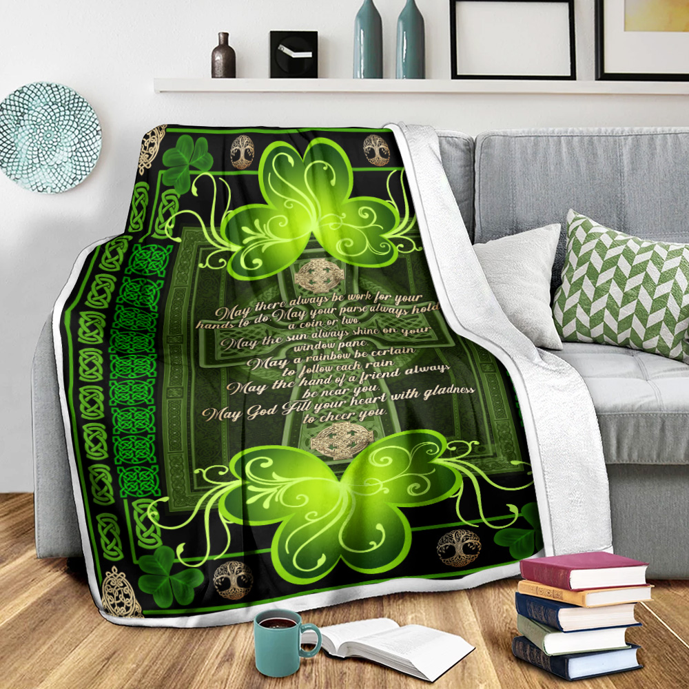 Personalized Lovely Fleece Throw Blanket St Patrick's Day Irish May God Fill Your Heart With Gladness Pattern 2 Lightweight Super Soft Cozy For Decorative Couch Sofa Bed