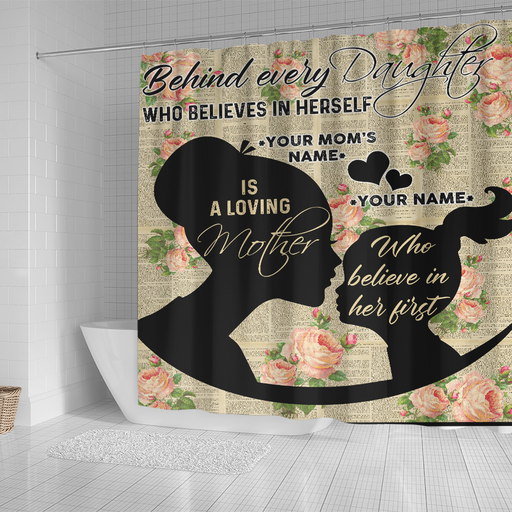 Personalized Lovely Shower Curtain To My Mom Behind Every Daughter Is Loving Mother Pattern 1 Set 12 Hooks Decorative Bath Modern Bathroom Accessories Machine Washable