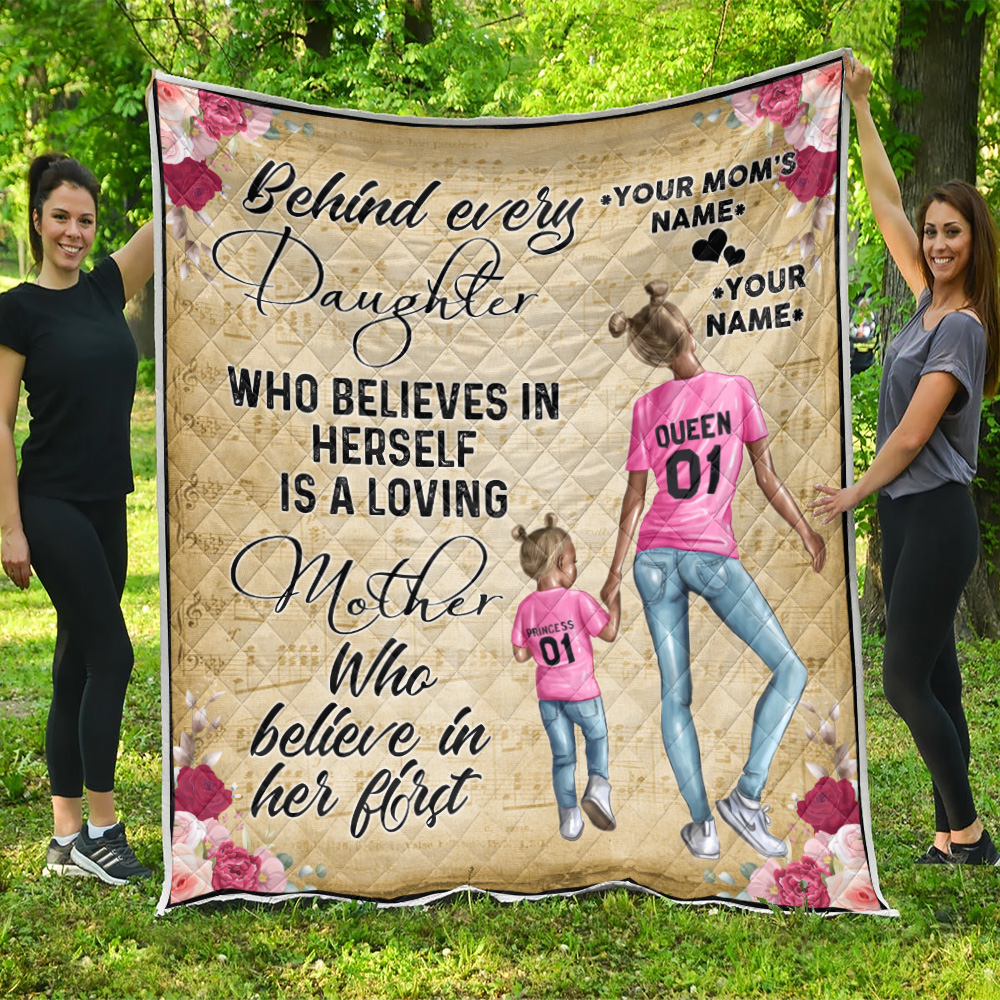 Personalized Lovely Quilt Throw Blanket To My Mom Behind Every Daughter Is Loving Mother Pattern 2 Lightweight Super Soft Cozy For Decorative Couch Sofa Bed