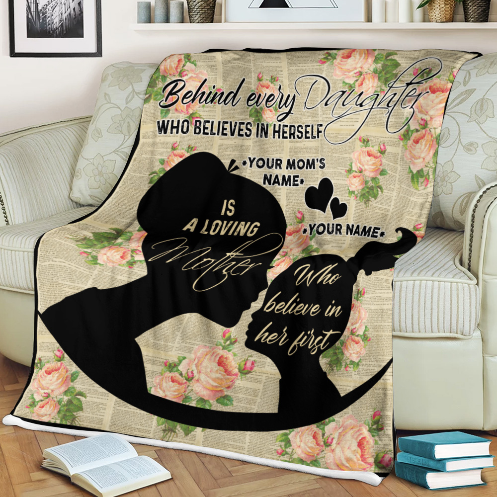 Personalized Lovely Fleece Throw Blanket To My Mom Behind Every Daughter Is Loving Mother Pattern 1 Lightweight Super Soft Cozy For Decorative Couch Sofa Bed