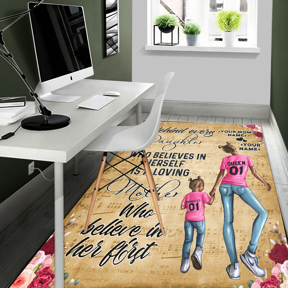 Personalized Lovely Rectangle Rug To My Mom Behind Every Daughter Is Loving Mother Pattern 2 Vintage Area Rug Anti-Skid Floor Carpet For Living Room Dinning Room Bedroom Office