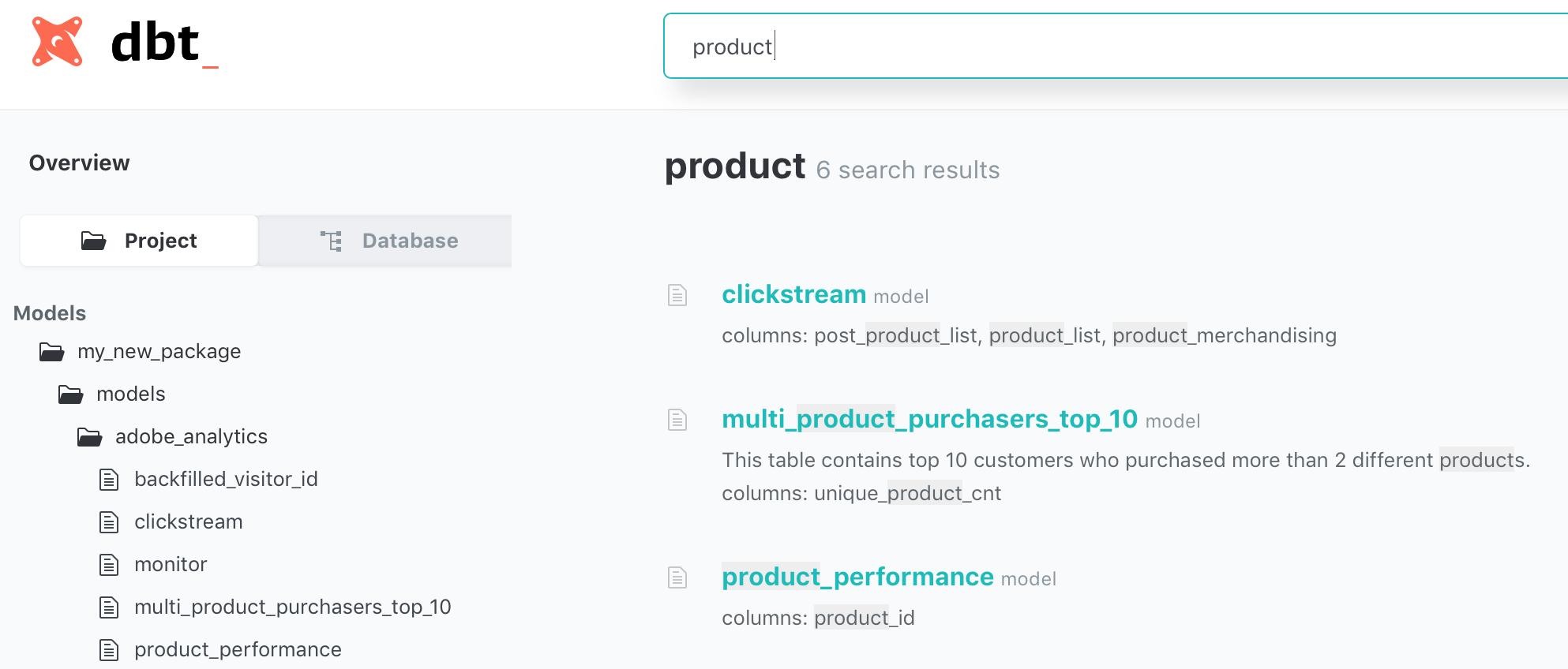 model documentation search