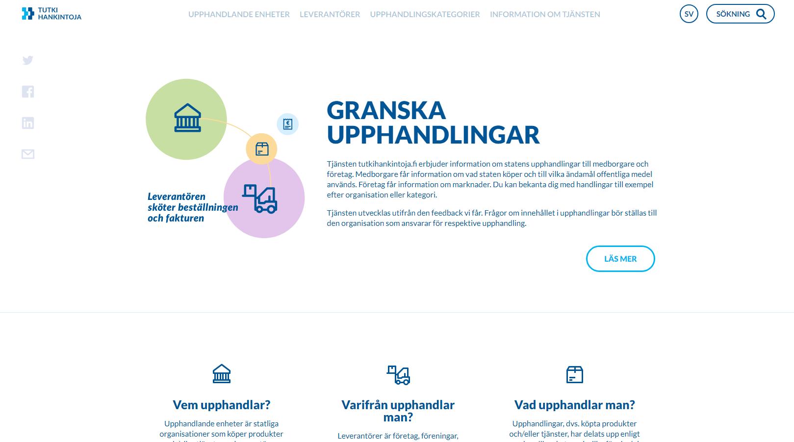 Anbud365: Finsk nettportal gir rikholdig statistikk om statlige anskaffelser