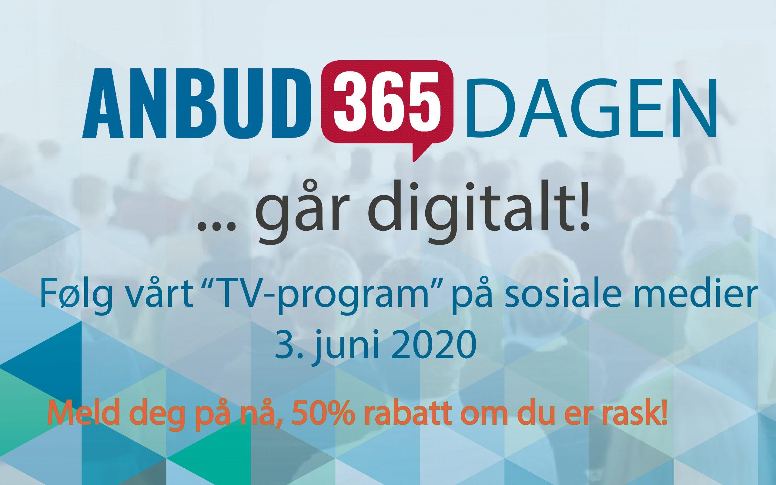 Anbud365: Anbud365-dagen 3. juni blir historisk Et «TV-program» om og med offentlige anskaffelser