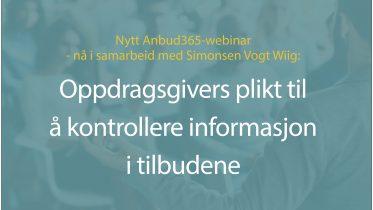 Anbud365: Nytt, gratis Anbud365-webinar Plikten til å sjekke informasjon i tilbudene