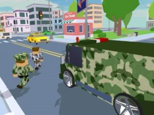 Hra na mobil Blocky army: City rush racer