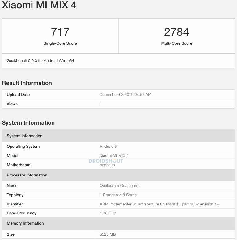 Xiaomi Mi Mix 4 na Geekbench