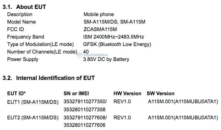 Samsung Galaxy A11 na FCC