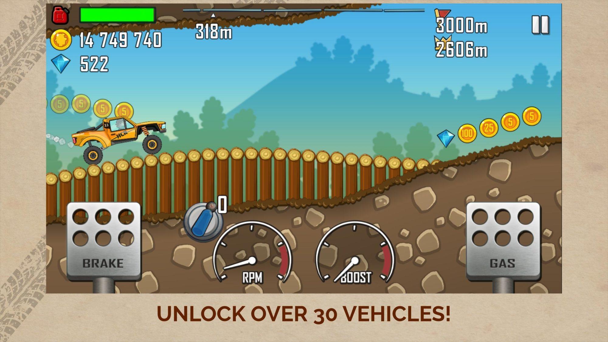 Hra na mobil Hill Climb Racing