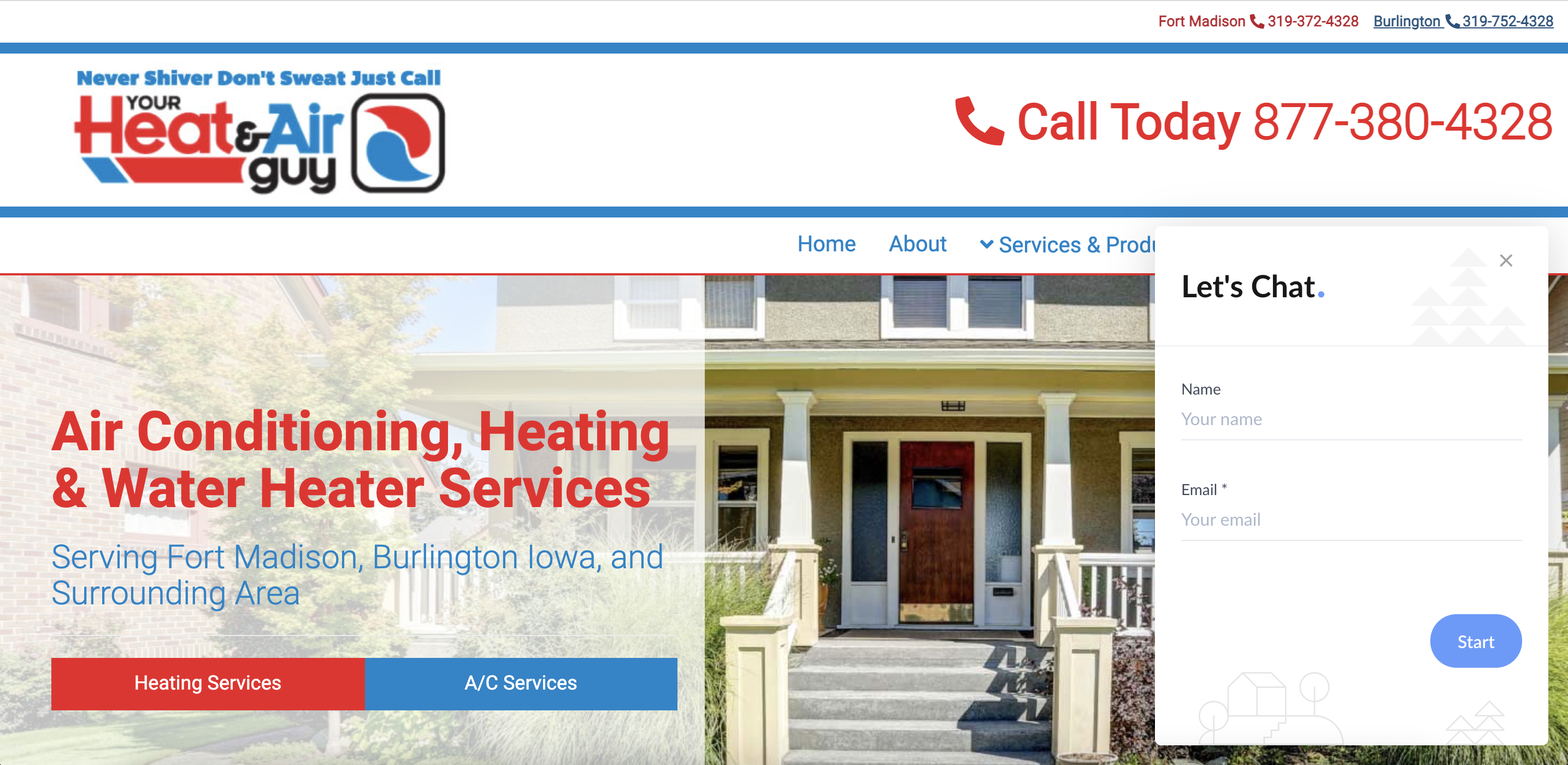 live chat lead form on HVAC site