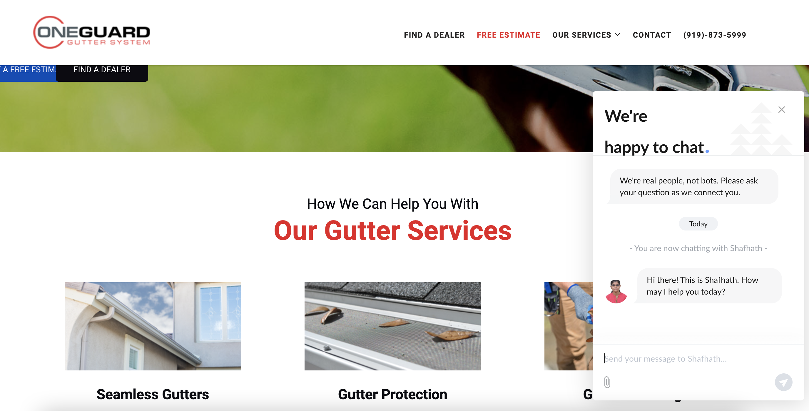 live chat on a guttering website