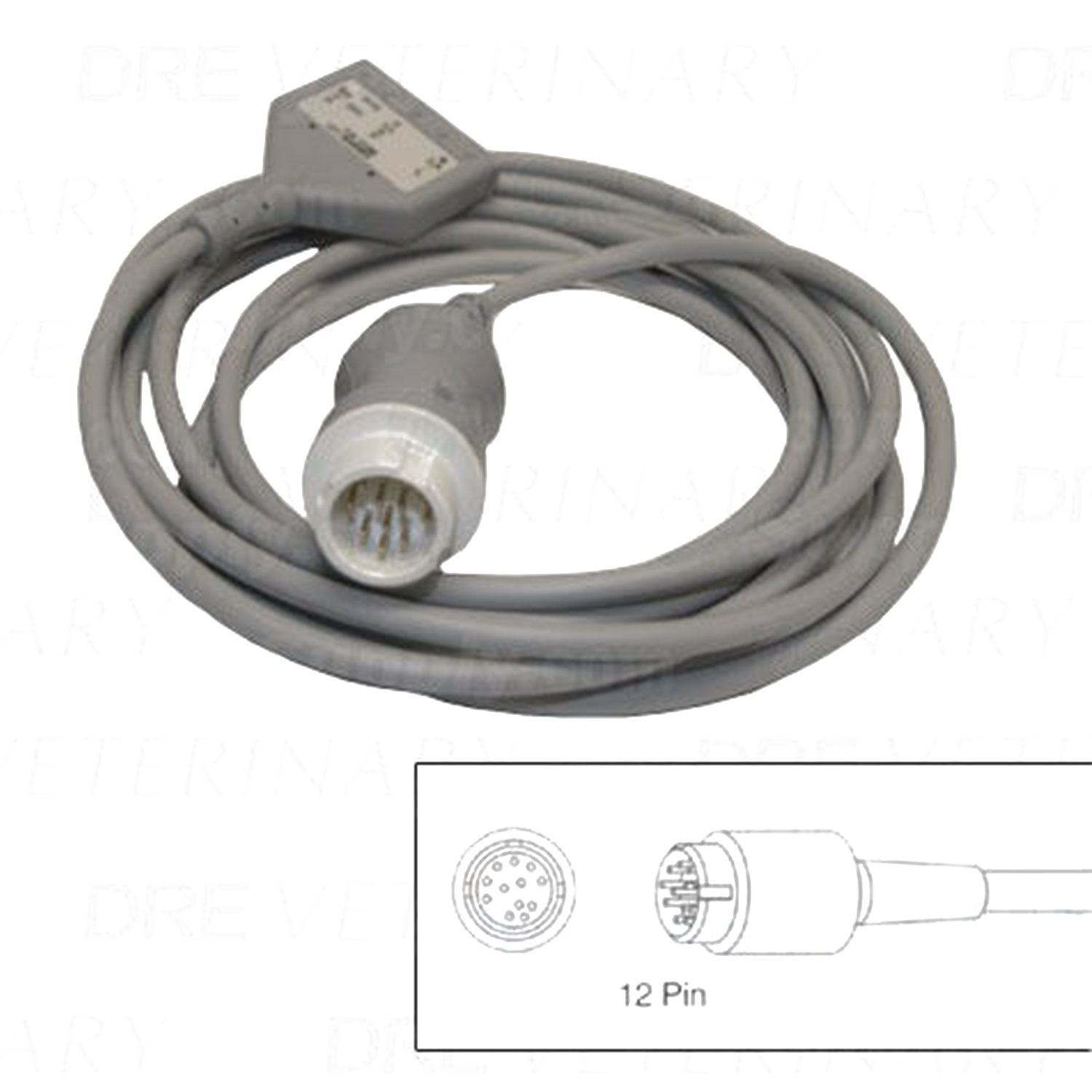 3-Lead Patient Cable for Hewlett Packard Codemasters and Merlin Monitors w/12 Pin Connectors