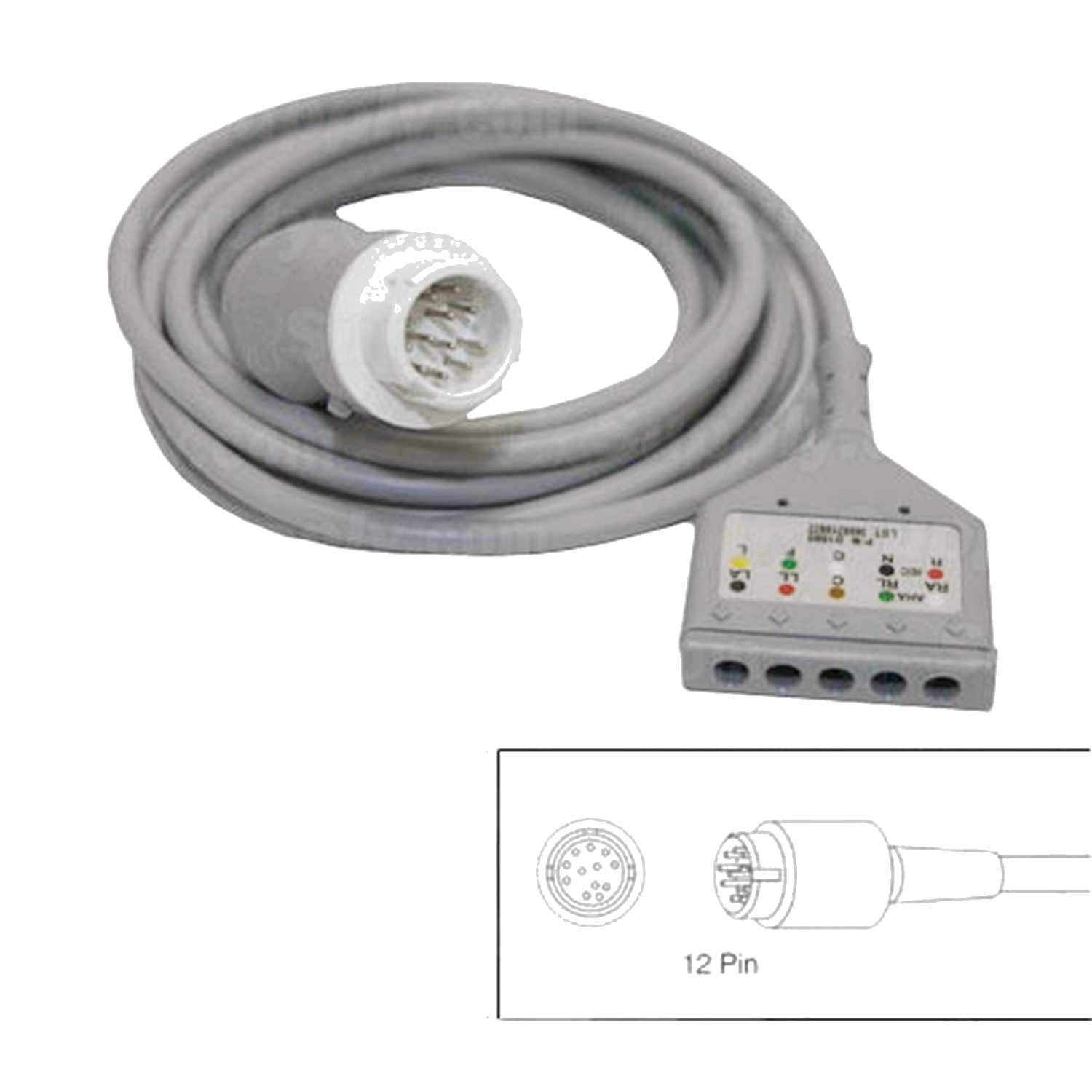 5-Lead Patient Cable for Hewlett Packard Codemasters and Merlin Monitors w/12 Pin Connectors