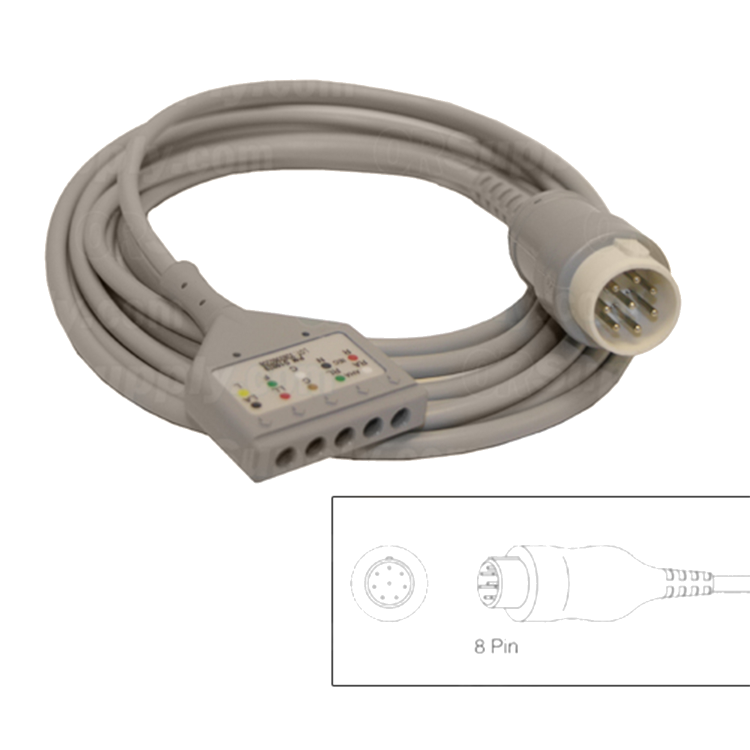 5-Lead Patient Cable for Hewlett Packard Codemasters and Merlin Monitors w/8 Pin Connectors
