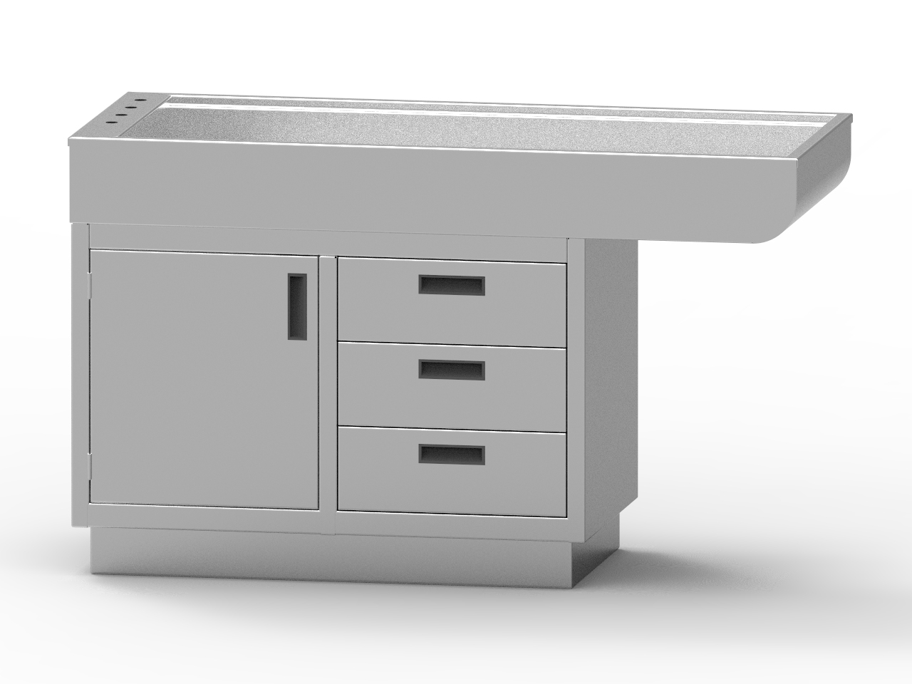 Avante All Stainless Steel Cabinet Style Wet Table with Knee Space (one door, three drawers)