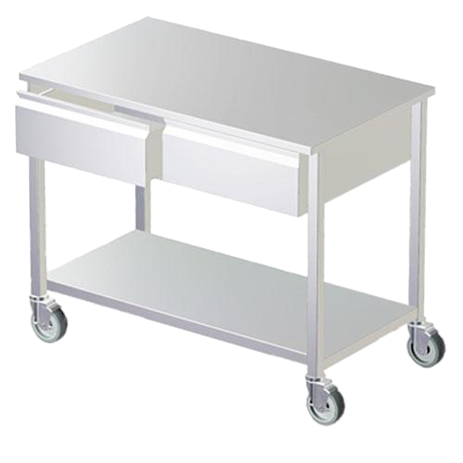 Avante Stainless Steel Mobile Exam Table with Drawers and Undershelf