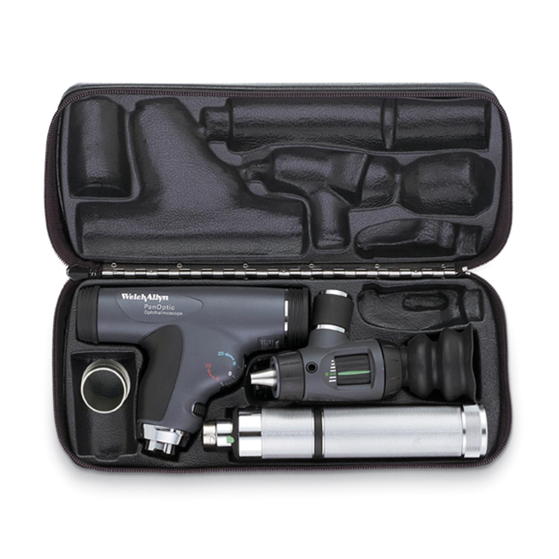 PanOptic Ophthal w/Corneal Lens, MacroView Oto w/Throat Illum, Convert Nickel Handle, Hard Case