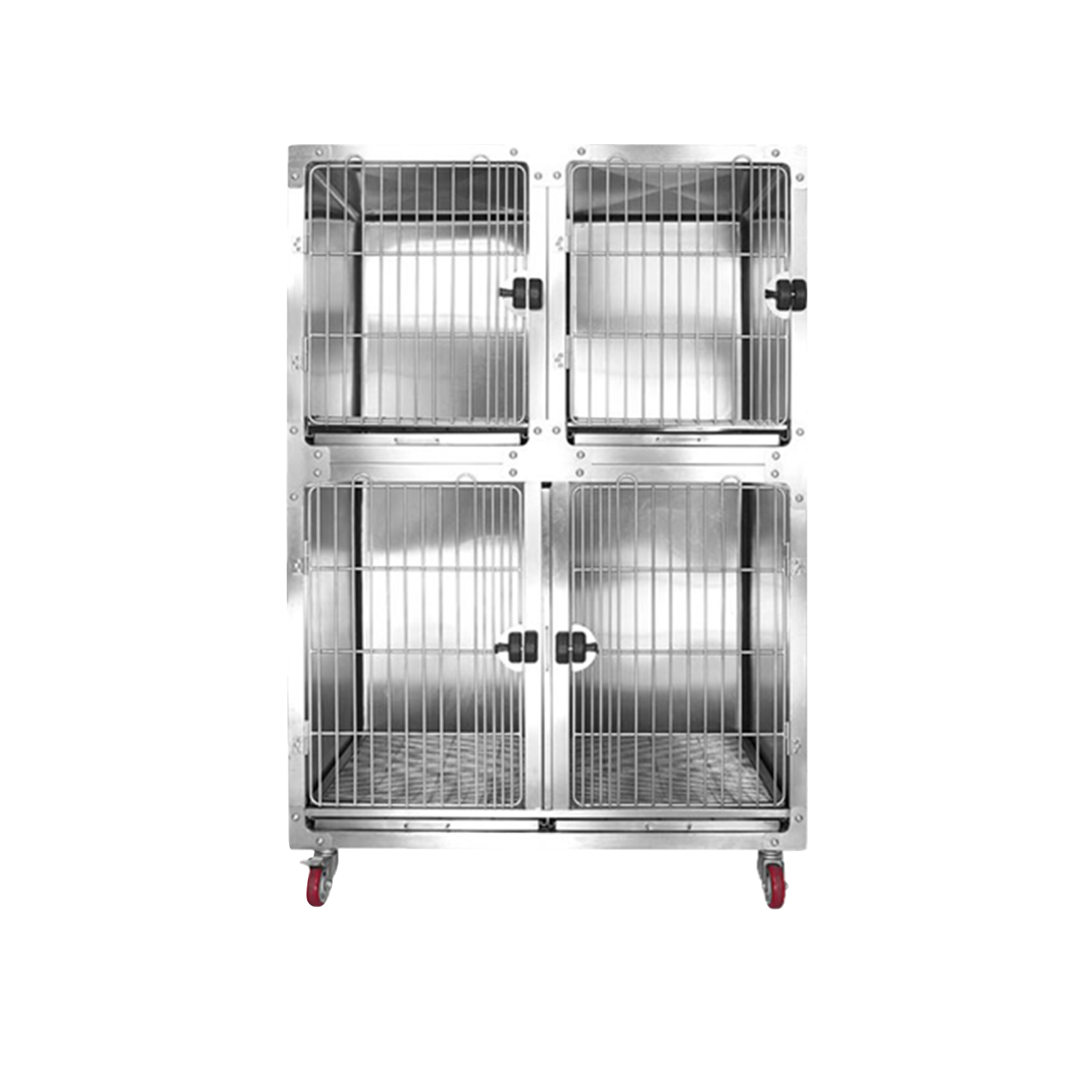 Stainless Steel Rounded Corner Cage with Waster Tray and Floor Grid