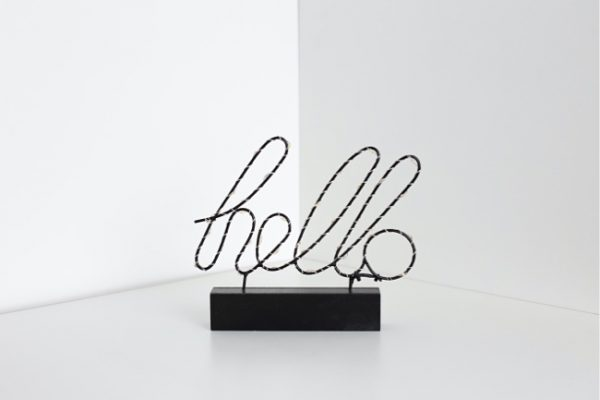 a showpiece that says hello