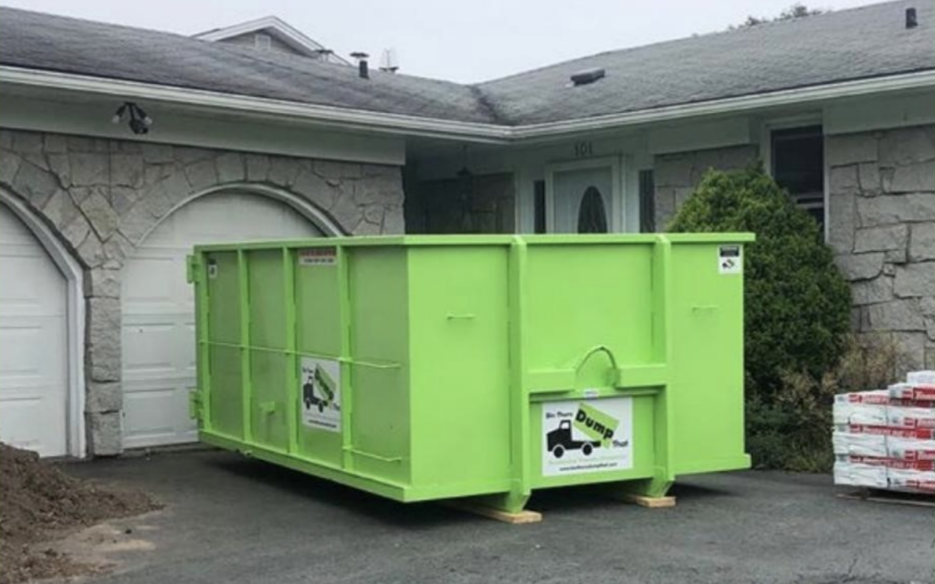 Bin There Dump That dumpster dropped off at a clients home.