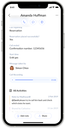 Listen to call recordings through the answerconnect app