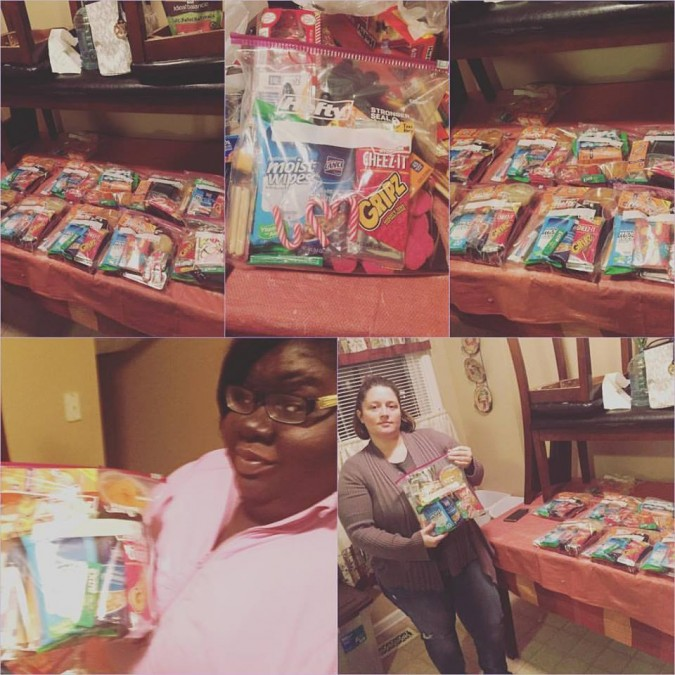 Jennifer's gift bags for the homeless
