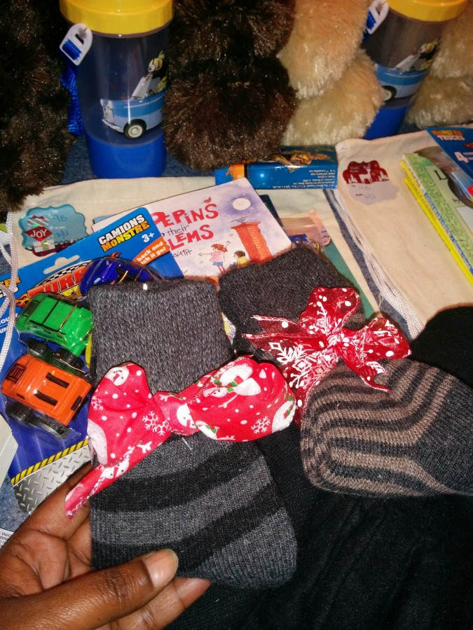 donated socks, toys, and supplies
