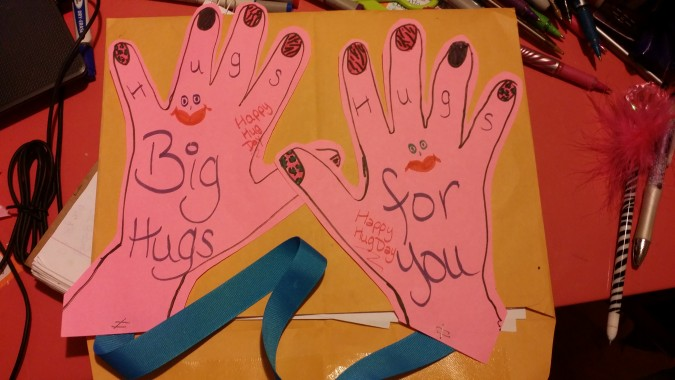 National Hugging Day hands cards