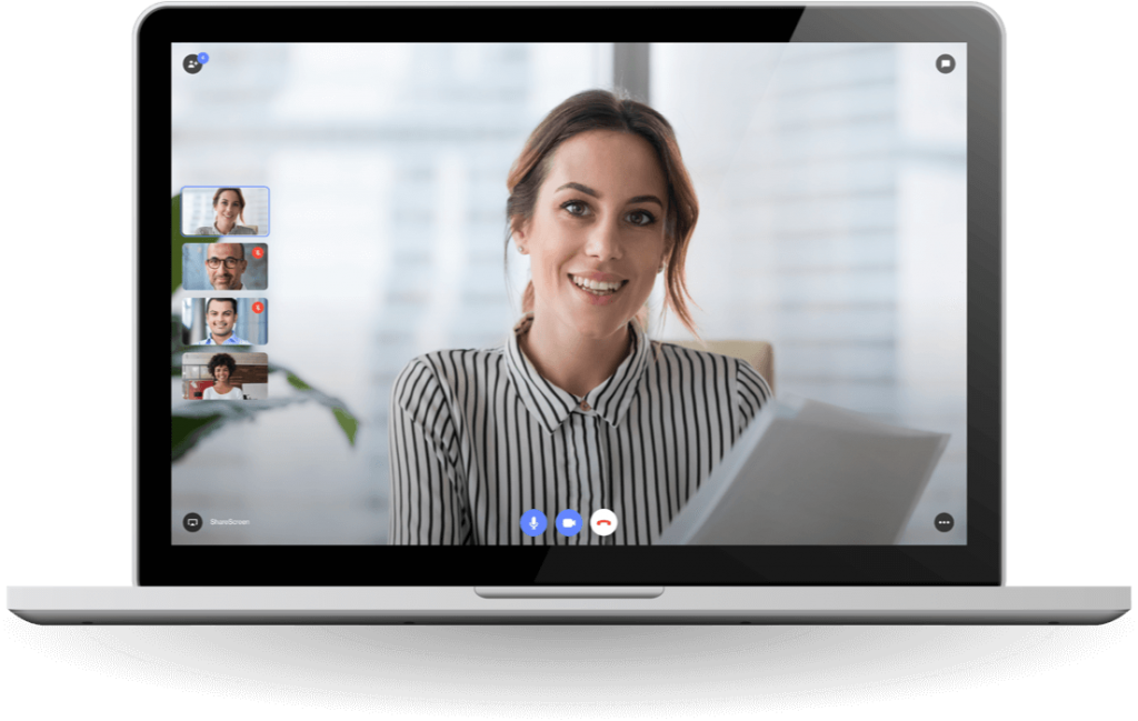 Woman in video meeting with colleagues