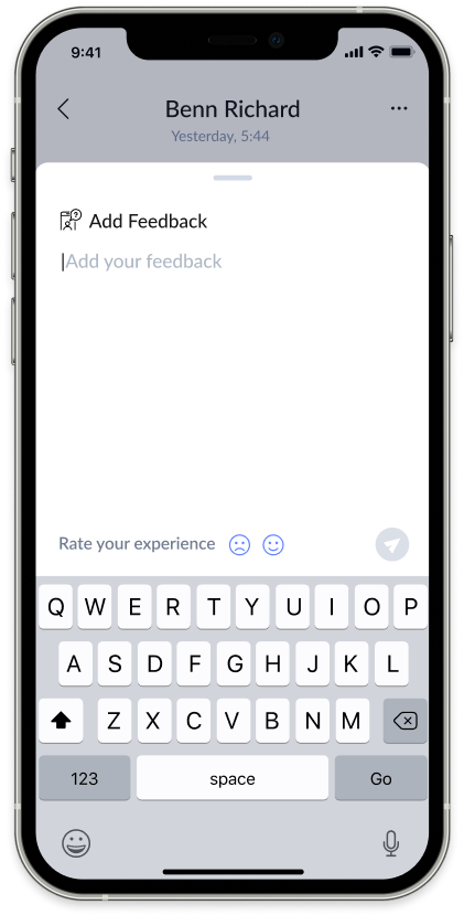 Screenshot of AnswerConnect mobile app: Add feedback