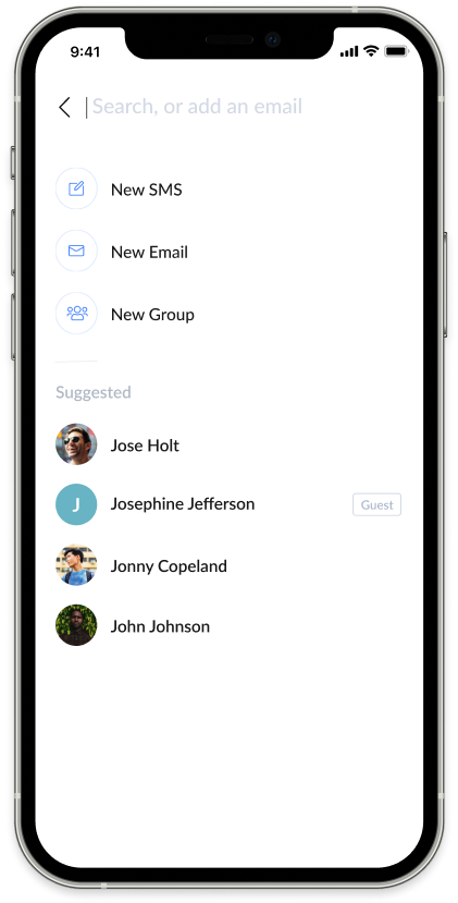 Screenshot of AnswerConnect mobile app: Search contacts