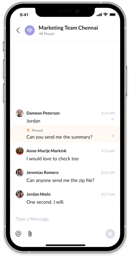 Screenshot of AnswerConnect mobile app: Group Chats