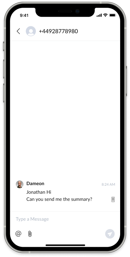 Screenshot of AnswerConnect mobile app: Send text