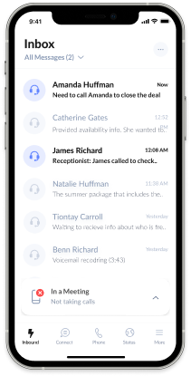 Setting a status update via the AnswerConnect mobile app