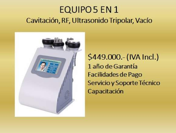 Cavitación, RF, Ultrasonido Tripolar, Vacío