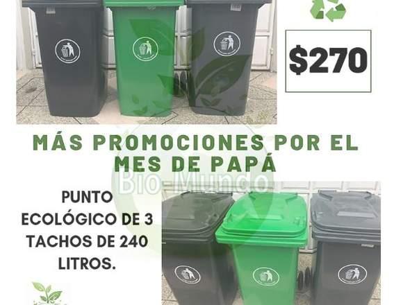 Punto ecológico con tacho de basura 240lts