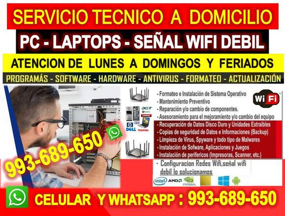 Servicio tecnico wifi,Pcs,laptops a domicilio