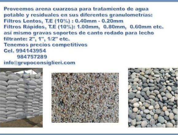 Arena y piedra para filtros potables