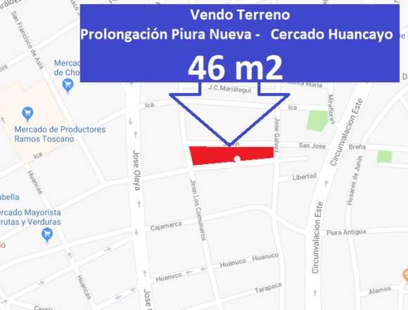 Terreno registrado 46 m2. Prolongación PiuraNueva