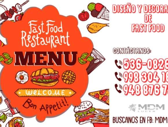 FAST FOOD DISEÑO Y DECORACIÓN  - TODO PERÚ