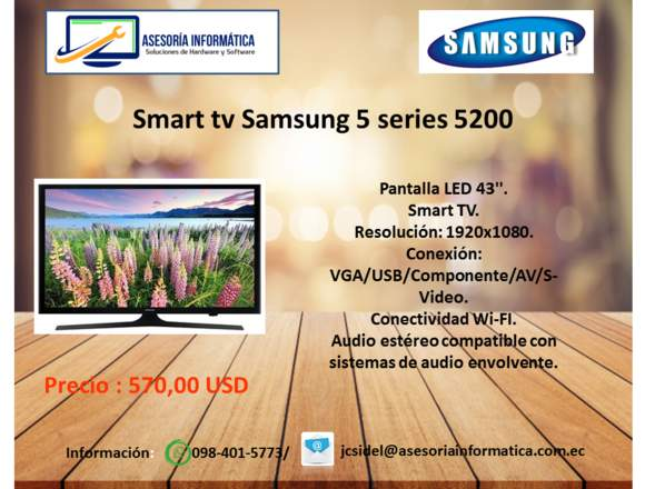 "TV Samsung de 43"" Smart tv Series 5 J5200A"