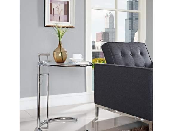 Mesa auxiliar Grey, cromada y cristal, regulable