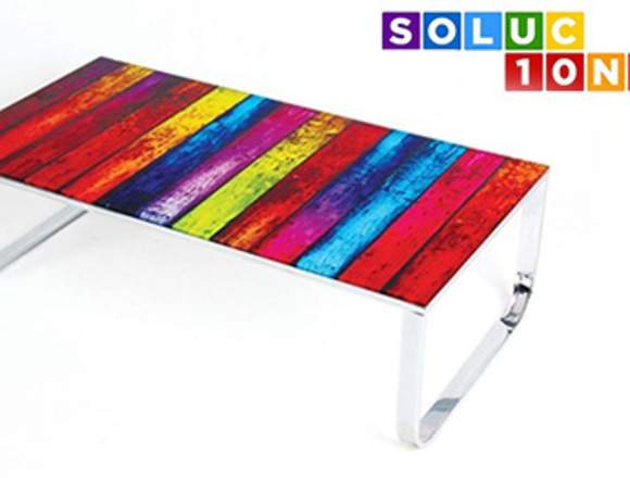 Mesa COLOR-105, baja, metal, cristal, 105x55 cms