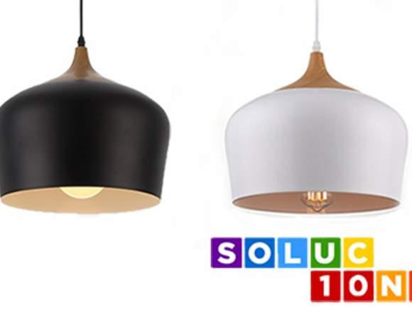 Lámpara CROC-T, colgante, metal, pantalla bl/ne