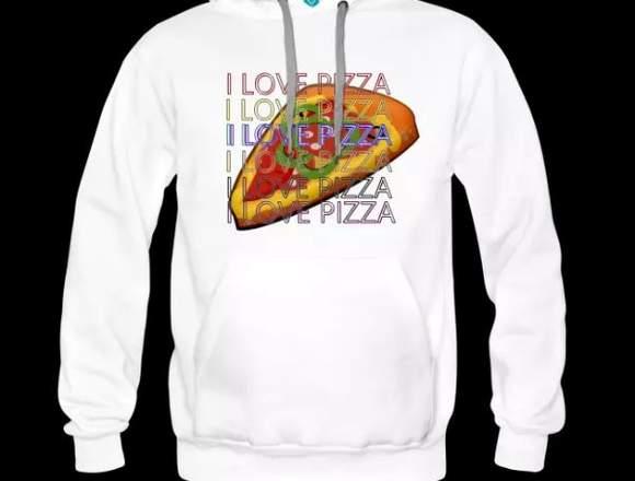 Sudadera con capucha i love pizza