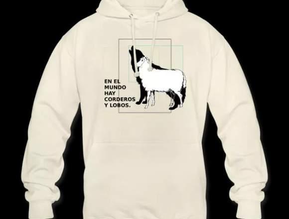 Sudadera con capuche corderos y lobos