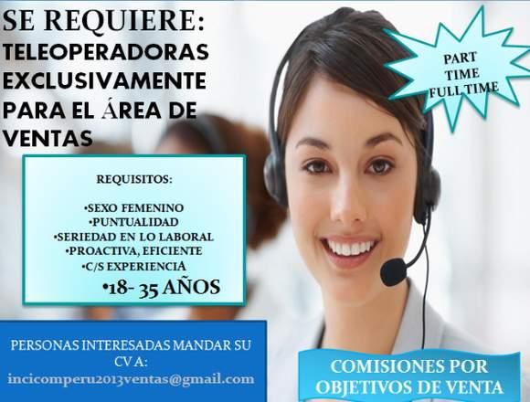 TELEOPERADORAS DE VENTAS