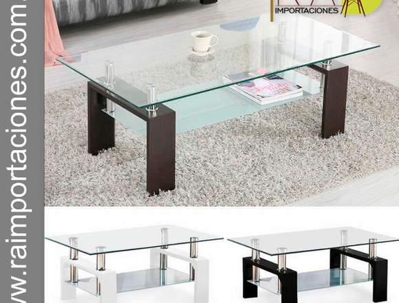 Mesas de Centro cristal y madera